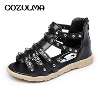 Cozulma夏スタイル子供ローマンサンダル用女の子王女リベット靴子供フラットビーチサンダル赤ちゃん女の子高靴3
