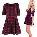 Nueva mujeres red plaid dress cuello redondo de media manga de la manera del verano mini vestidos vestidos y2 ll2