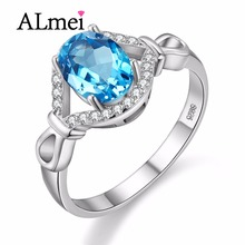 Almei Камни Синее Кольцо Стерлингового Серебра 925 Кольца для Женщин ювелирные изделия Сапфир Кольцо Женщина с Каменными Анель с Коробкой 40% FJ084