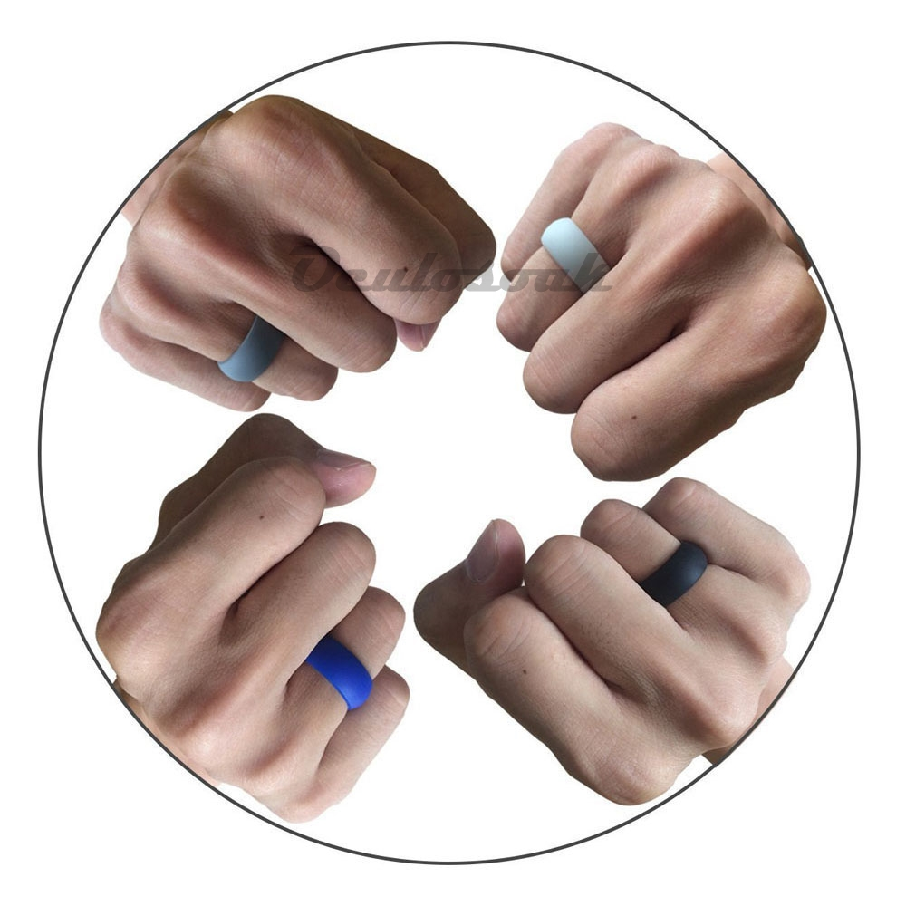 10pc set Food Grade FDA Silicone Rings Hypoallergenic Flexible Sports Antibacterial Finger Rings Men Women Rubber Wedding Rings in Rings from Jewelry Accessories