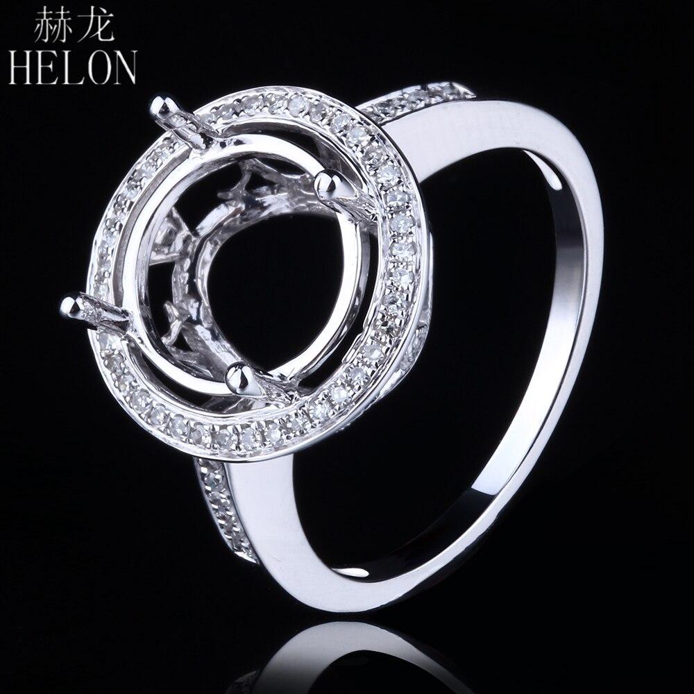 HELON الصلبة 14K (585) الذهب الأبيض 9 11 مللي متر جولة قص نصف جبل تمهيد الماس خاتم الخطوبة الزفاف الحقيقي السيدات غرامة مجوهرات خاتم-في خواتم من الإكسسوارات والجواهر على  مجموعة 1