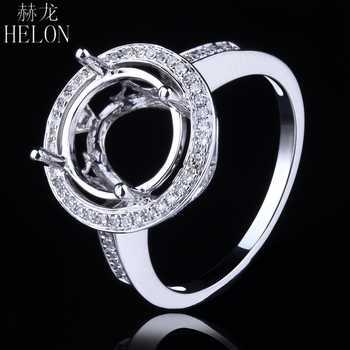 HELON Solid 14K (585) White Gold 9-11mm Round Cut Semi Mount Pave Real Diamonds Ring Engagement Wedding Ladies Fine Jewelry Ring - DISCOUNT ITEM  13% OFF All Category