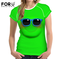 FORUDESIGNS T Shirt Women Top Shirt 3D Emoji Smily Face Design Summer Brand Clothes Ladies T-shirt For Girls Vetement Femme 2017