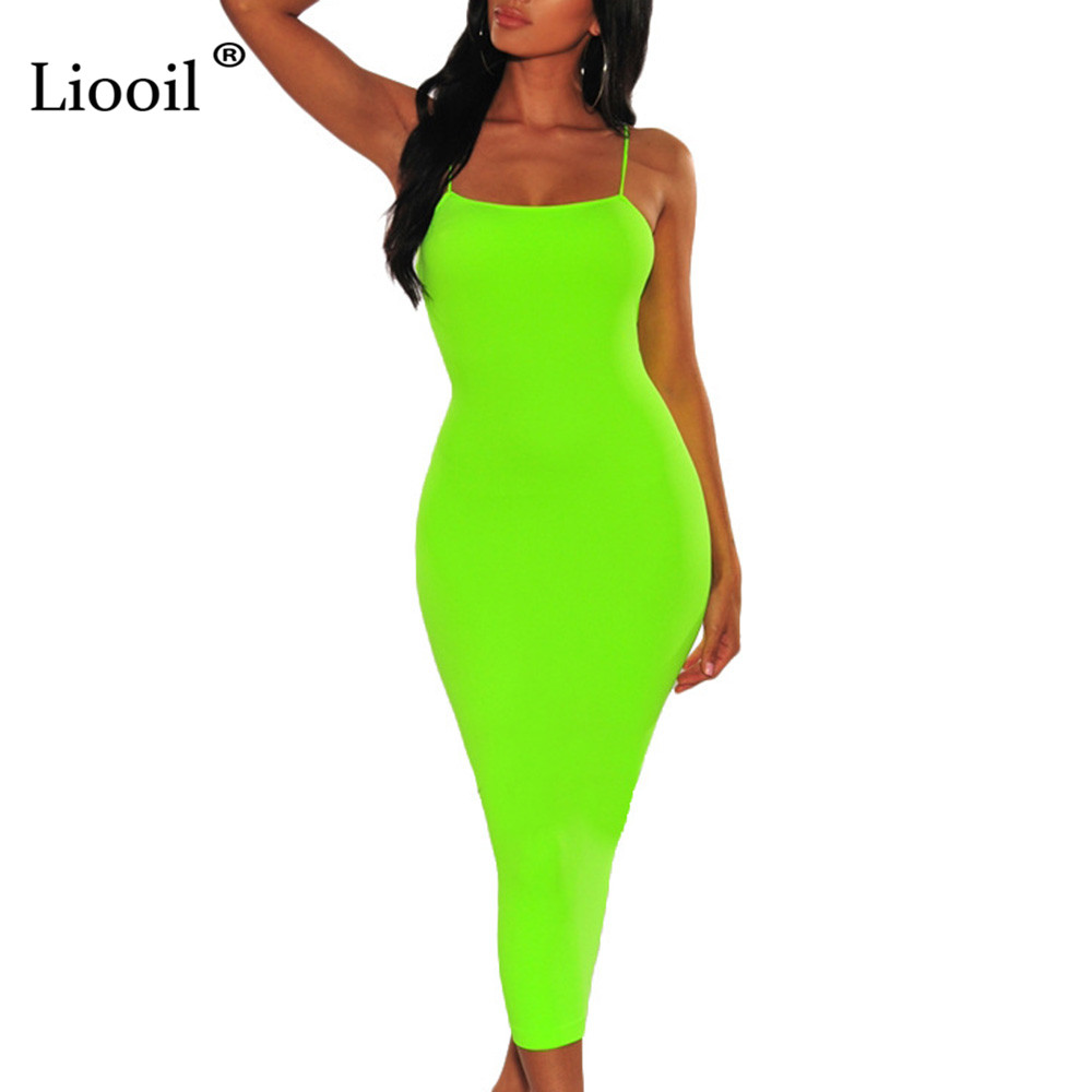 Liooil Neon <font><b>Orange</b></font> Green Spaghetti Strap Midi Bodycon Women <font><b>Dress</b></font> New Arrival 2019 Summer <font><b>Sexy</b></font> <font><b>Dresses</b></font> Party Night Club <font><b>Dress</b></font> image