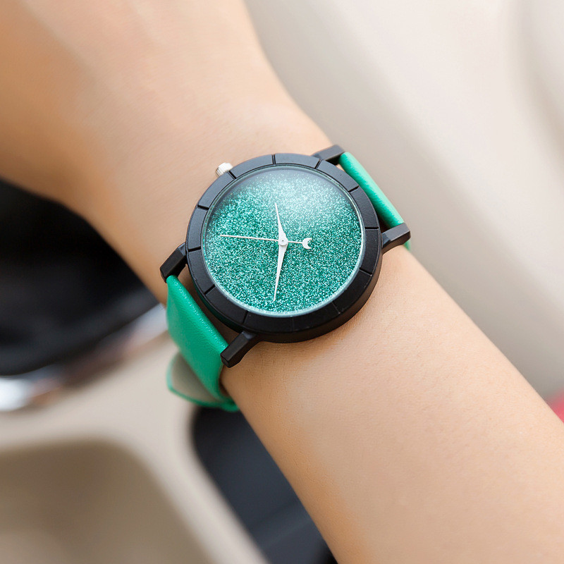 Ladies Casual Watch fashion Rhinestone Women Dress Watch Lovers' Leather Quartz Wristwatch Cute Moon Stars Design clock hours 14