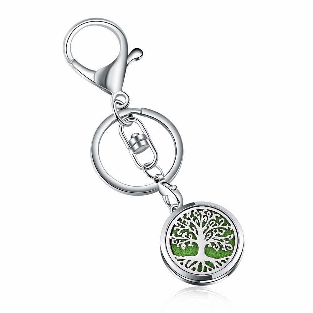 10 adet/grup takı paslanmaz çelik 22mm Aroma parfüm madalyon anahtarlık aromaterapi uçucu yağlar difüzör madalyon anahtarlıklar