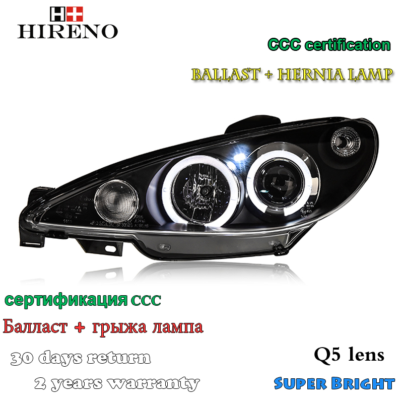 Hireno Headlamp for 2004-2008 Peugeot 206 Headlight Assembly LED DRL Angel Lens Double Beam HID Xenon 2pcs 2pcs purple blue red green led demon eyes for bixenon projector lens hella5 q5 2 5inch and 3 0inch headlight angel devil demon