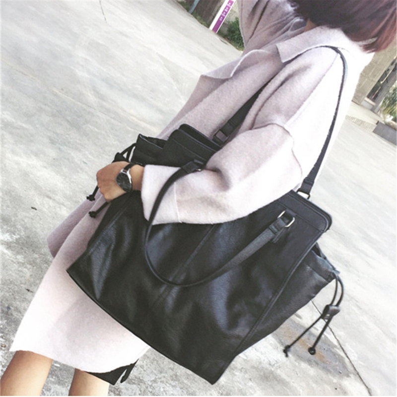 ФОТО Women Messenger Bags 2017 Vintage Simple Women's Leather Handbags Big Size Casual Tote Shoulder Bag For Women Ladies Tote