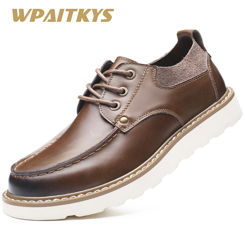 Black Brown Leather Men's Shoes 2018 Summer Crazy Horse Leather Low - Men's Shoes