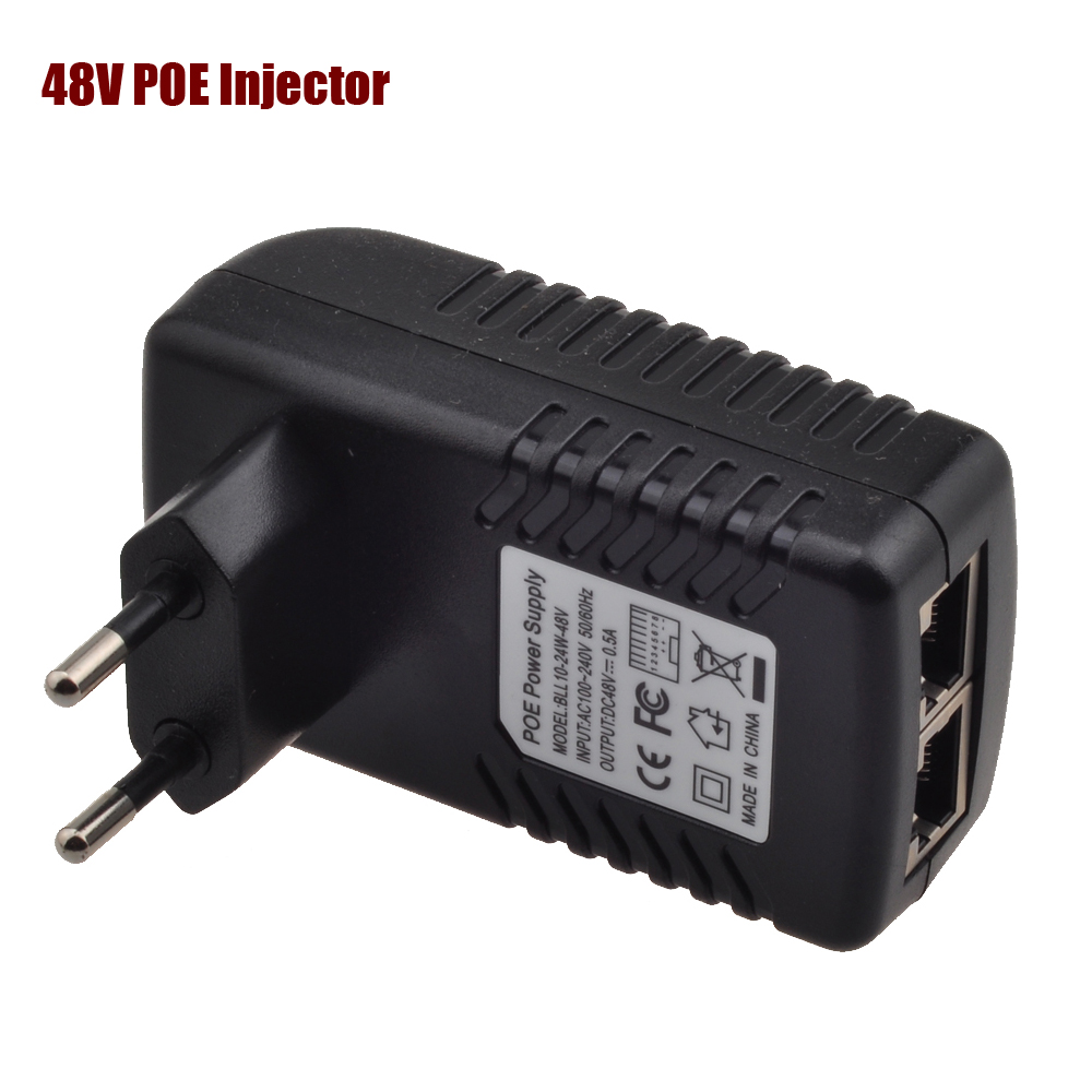 48 V iniettore POE Ethernet CCTV Adattatore di Alimentazione 0.5A 24 W, POE pin4/5 (+), 7/8 (-) Compatibile con IEEE802.3af per Telefoni IP telecamera IP