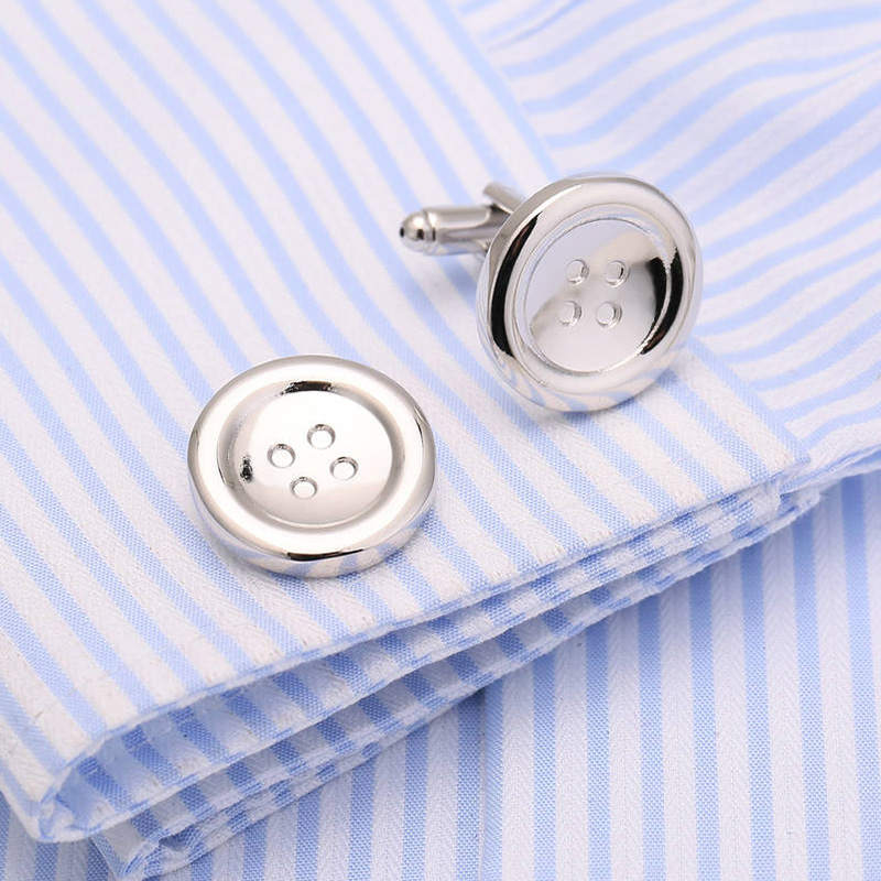 New Button Cufflinks Metal Cuff links Brass French Shirt Cufflinks Collar Studs 146