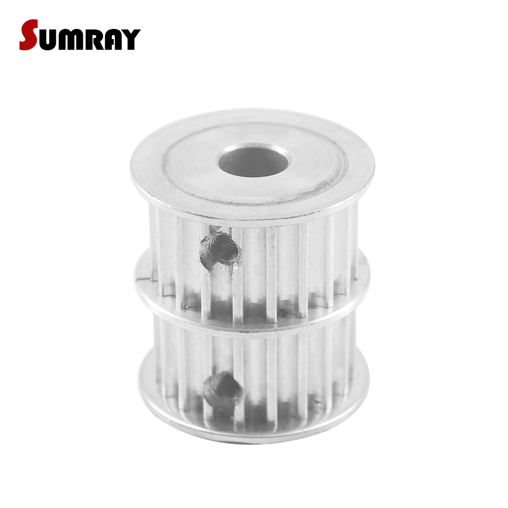 SUMRAY 5M 20T Dual Head Timing Pulley 8/10/12mm inner bore Double Head Pulley 16mm width Combined Pulley Wheel for 3D Printer все цены