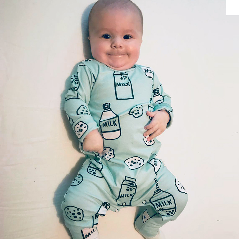 Milk Bottle Onesie Rompers Tiny Cottons Newborn Boys Romper Girls Clothes Dog Print Infant Baby ClothingLong Sleeved Jumpsuit