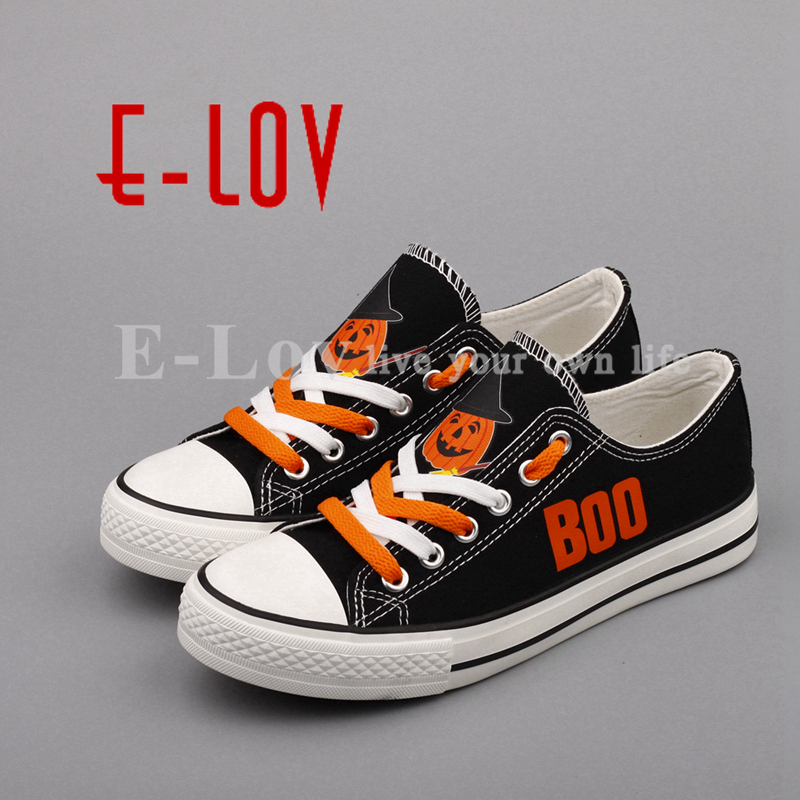 E-LOV Fancy Printed Halloween Party Pumpkin Canvas Shoes Low Top Casual Women Shoes Flat Espadrilles zapatillas mujer e lov women casual walking shoes graffiti aries horoscope canvas shoe low top flat oxford shoes for couples lovers