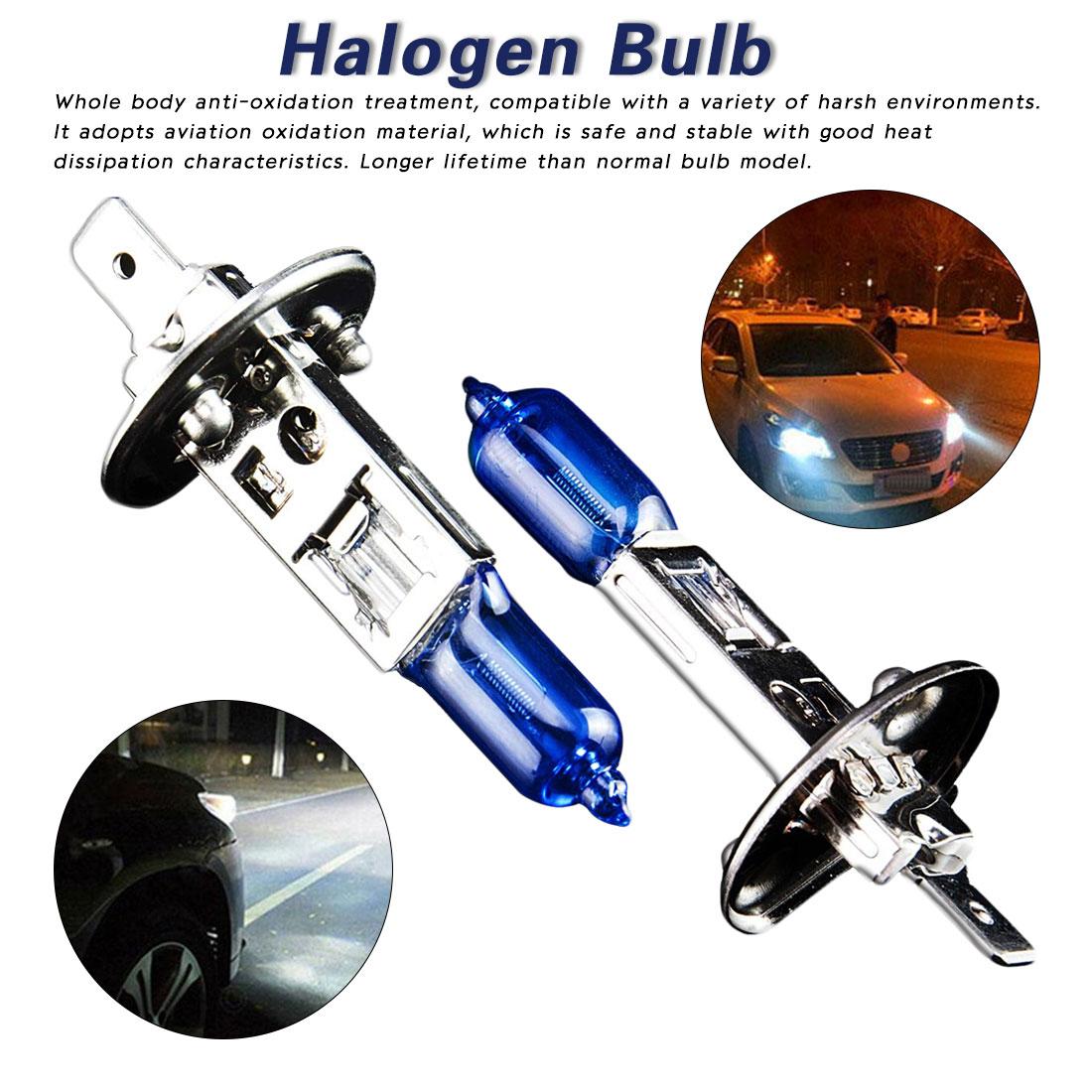 Tonewan lâmpada halógena h1 12 v 100 w 5500-6000k 800lm farol do carro azul escuro de vidro de quartzo lâmpada de luz auto super branco (2 pces)