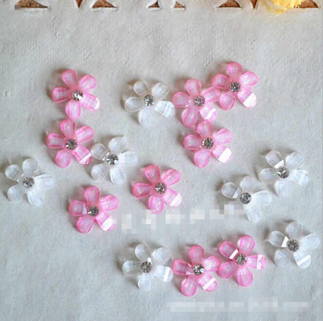 10pcs x Small Sparkly Hot Pink AB Resin Bows Flatback Embellishment Cabochon