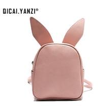 QICAI. YANZI Schöne Drei Designs Kaninchen Ohr Rucksack Frauen Kleine PU Leder Tägliche Bagpack Schultaschen Für Mädchen Schulter tasche P622
