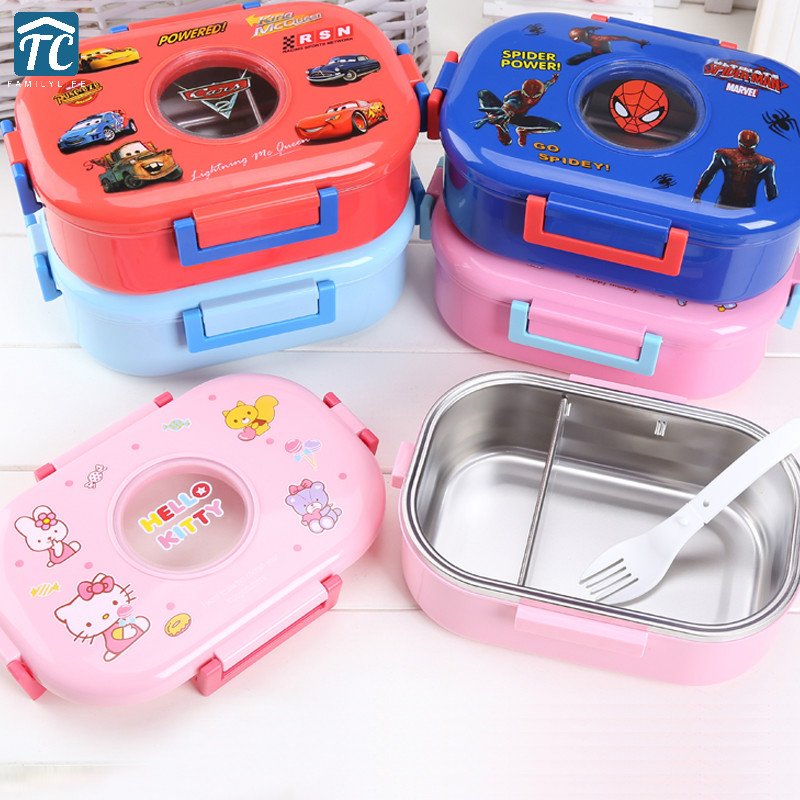 1000ml Stainless Steel Lunch Box Sealed Portable Cute Cartoon Student Children Food Storage Container Bento Kids Bag Leakproof