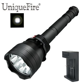 UniqueFire 5 Modes UF-T09 9 Led Rechargeable Black Led Flashlight  Brightest XML-2 Led Torch 4000-8000 lumen with Charger