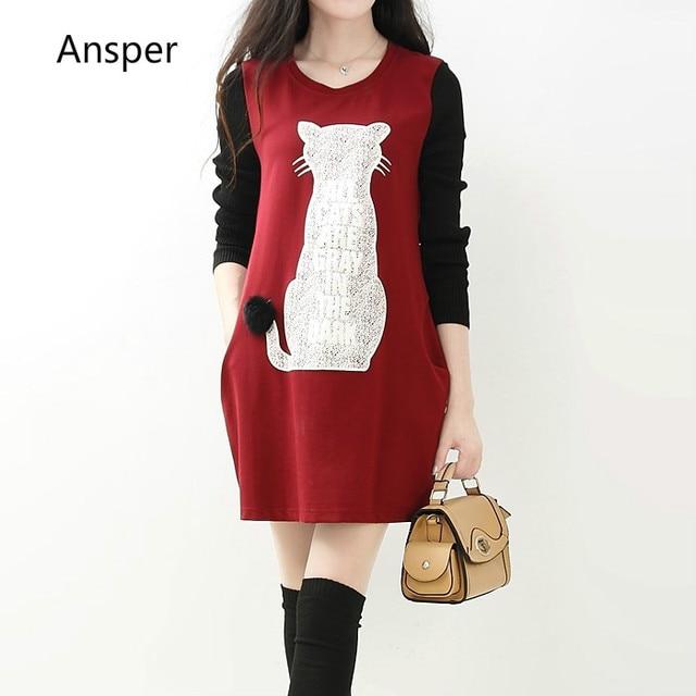 d8d6b026d0ec Young girls autumn winter dress spring vintage sheath long sleeve women  dress female 3d cat print