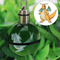 Dragonite Novelty Mini Portable Pokemon Go Engraving Round 3D Crystal Glass Ball LED Keychain Colorful Pendant Child Gift