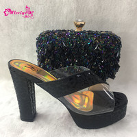 2019 Latest Black Color African Shoes with Matching Bag Italian Design African Nigeria Shoes and Bag Set for Parties Wedding