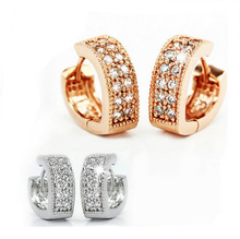 Free Shipping Rose Gold Plated Womens Heart CZ Zircon Fashion Jewelry hoop earrings