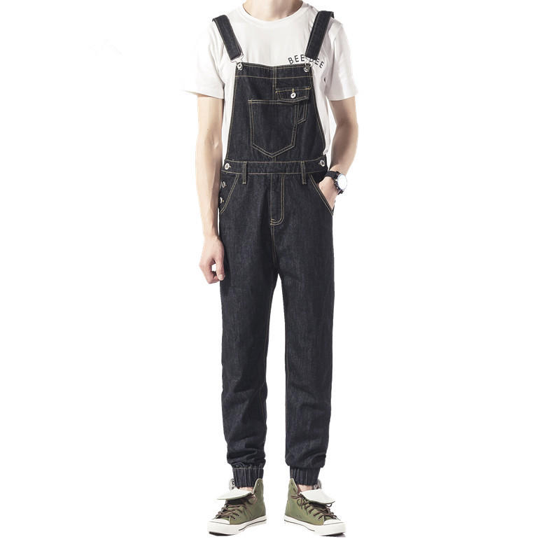 2017 New Arrival Casual Black One Piece Men Overalls Skinny Feet Jumpsuit Bib Pants Suspender Braces Adult Jumpsuits Mens 2017 new women s denim bib pants spring and autumn overalls skinny fit plus size one piece jumpsuits trousers
