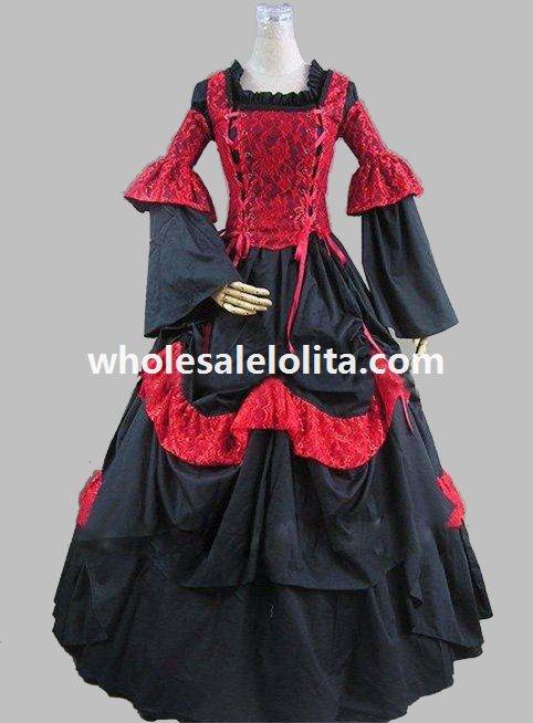 Средневековый стиль ренессанс викторианский корсет период платье историческая реконструкция театральная одежда - Цвет: red and black