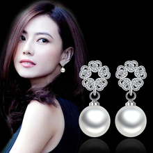 2019 Trendy 925 Silver Stud Earrings For Women Jewelry Exquisite Hollow Love Heart Zircon Pearl Earring Female Engagement Gifts
