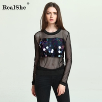 RealShe Women Hipster Harajuku Sequins Long Sleeve Sexy See Through Tshirts Top Tee Alien Casual T