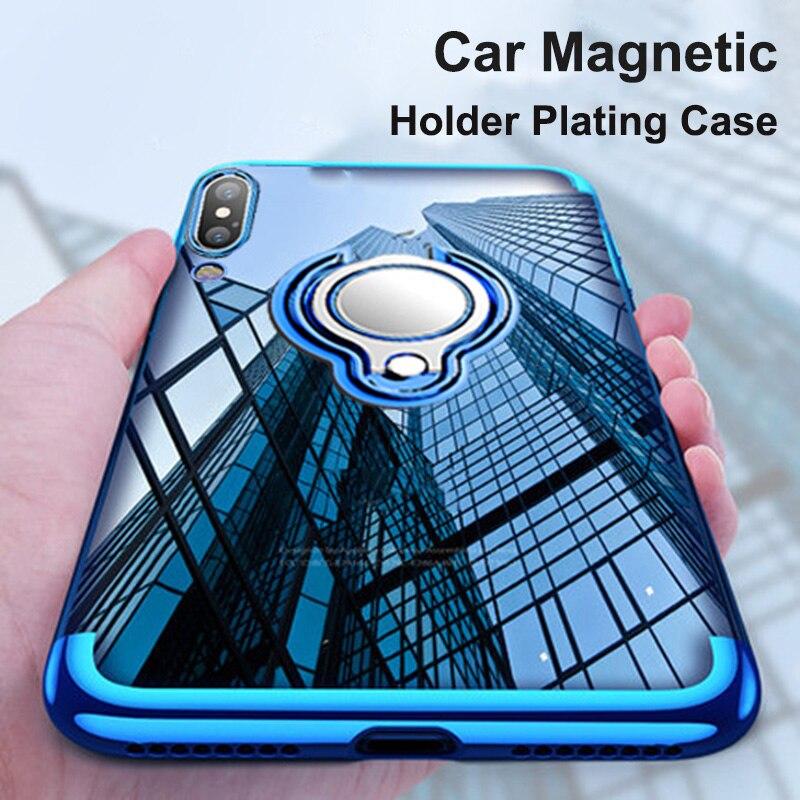 Luxury Plating TPU Cases For Huawei P20 Lite Mate 20 10 Lite Pro Magnetic Car Holder Case On Honor V9 Nova 3 P Smart Plus Cover