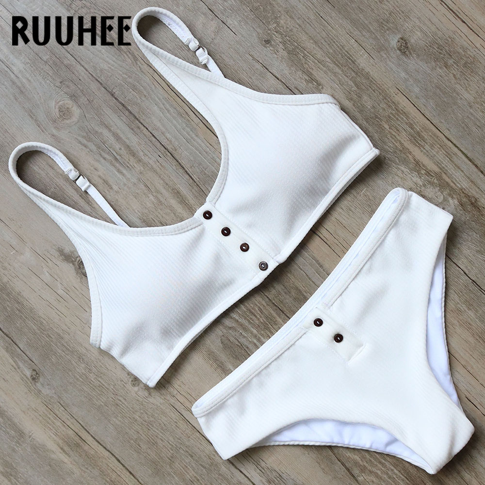 RUUHEE Bikini Swimsuit Swimwear Women Solid Bikini Set Push Up Bathing Suit Sport Top 2018 Female Beachwear Swimsuit With Pad
