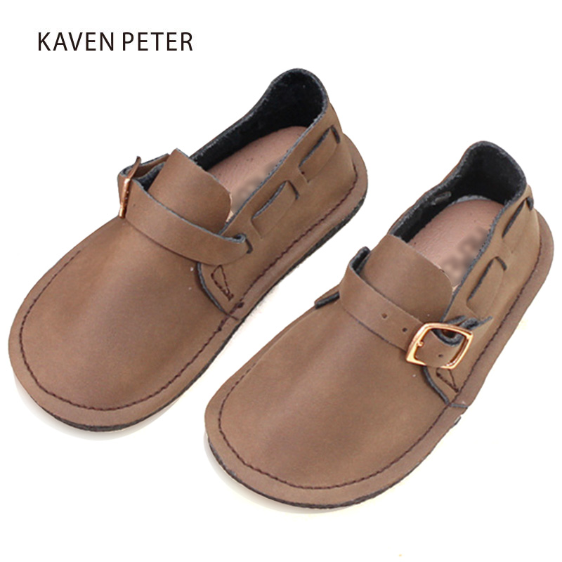Genuine Leather shoes children handmad boys shoes girls slip on gym shoes kids cow leather rubber soft sole baby sneakers casual