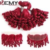 99J/Бургундия Фунми вьющиеся человеческие волосы пучки с фронтальной 13*4 kemy Hair бразильские не Реми наращивание волос 3/4 шт Красные пучки