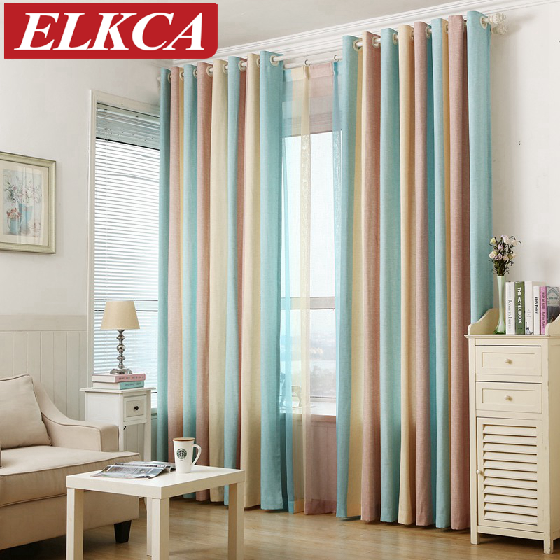 striped printed window curtains for the bedroom fancy children modern curtains for living room faux linen