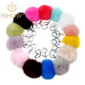 14 colors 8CM ball rrabbit fur ball keychain women porta chiavi silver key chain fluffy keychain gift male couples present