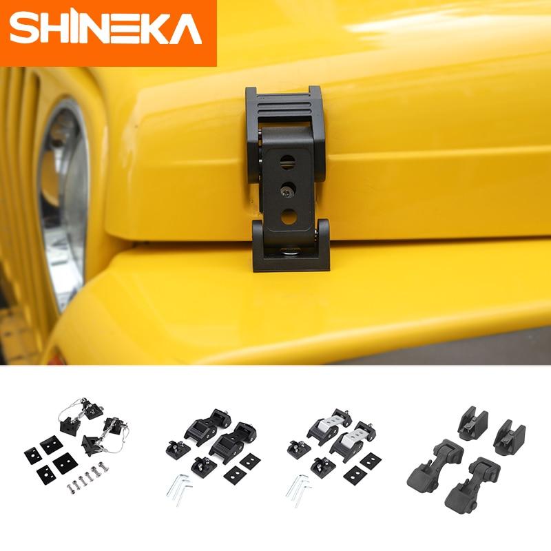 SHINEKA Locks & Hardware For Jeep Wrangler TJ 1997-2006 Black Car Engine Hood Latch Catch Cover For Jeep Wrangler TJ Accessories