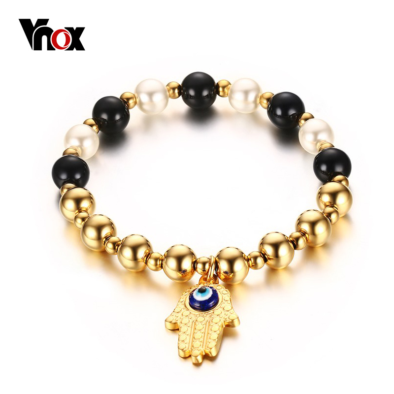 VNOX The Hamasa Hand Bracelets for Women Pearl Round Beads Lucky Gold Color Jewelry