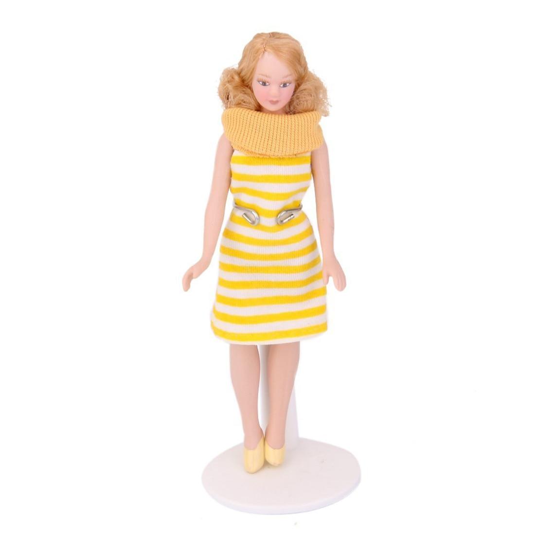 HOT SALE Dollhouse Miniature Porcelain Doll Lady in Striped Dress