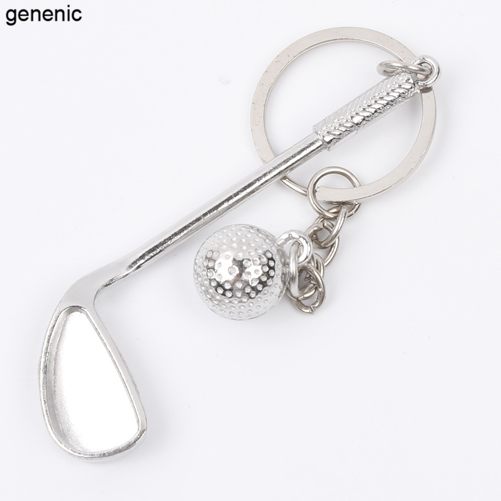 Creative Sporting Golf Club and Ball Silver Metal Keyring Keychain Gift Fashion ...