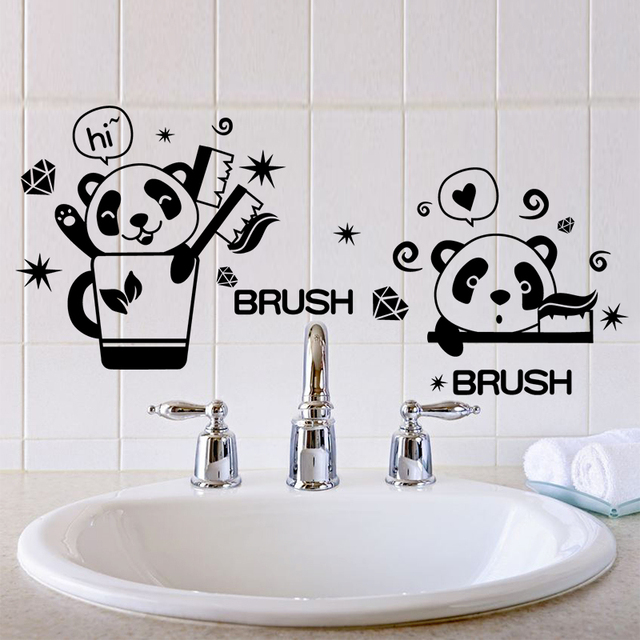 Black Color Panda Brush Teeth Toilet Stickers Vinyl Material Bathroom Wall  Decorative Stickers For Washroom Tile
