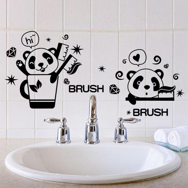 zwarte kleur panda borstel tanden wc stickers vinyl materiaal badkamer muur decoratieve stickers voor wasruimte tegel