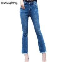 Women Winter Skinny Flare Pants Jeans High Waist Jeans 2017 Autumn Denim Pants Female Light Blue