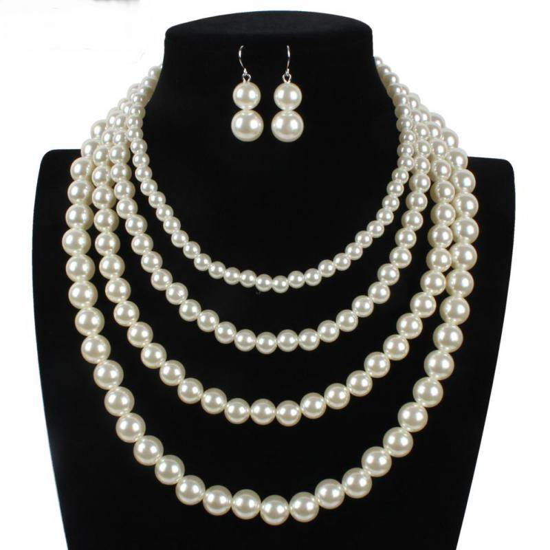 Statement Four Layers Simulated Pearl Chokers Necklaces Earrings Set Bride Wedding Jewelry All Match In Sets From Accessories On