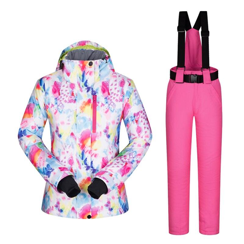 Hiver Ski costume Femmes Marques 2018 Haute Qualité Ski Veste Et Pantalon de Neige Chaud et Imperméable Coupe-Vent Ski Et Snowboard Costumes - 4