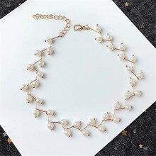 Geometric character weaving creative elegant pearl cross tide female fashion collarbone chain necklace