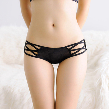 Women Sexy Bandage G String Lace Panties Full Transparent Low Waist Thongs Underwear Briefs High Quality Hollow-out Rose Panties sexy panti