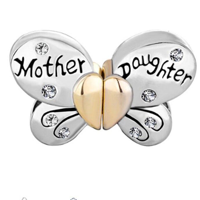Perles de diapositives Mère Fille Charme Séparable Papillon Charme Transparent Cristal Coeur D'amour Fit Pandora bracelet.