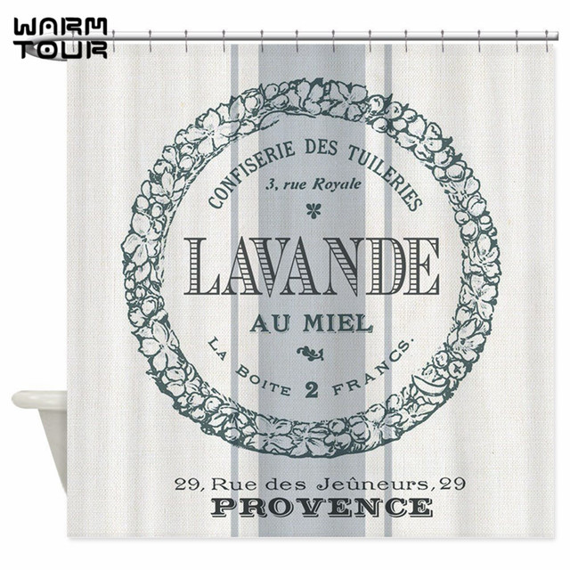 Warm Tour Vintage French Lavender Shower Curtain Fabric Polyester Waterproof Mildew Resistant Bathroom WTC064
